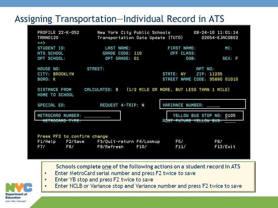 Assigning Transportation—Individual Record in ATS