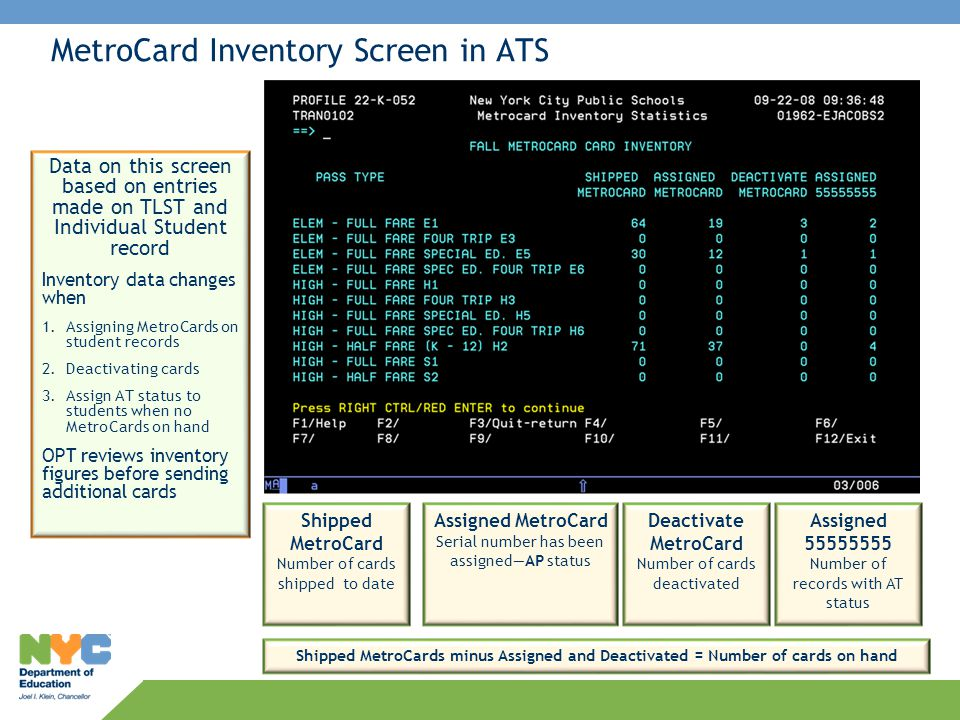 MetroCard Inventory Screen in ATS