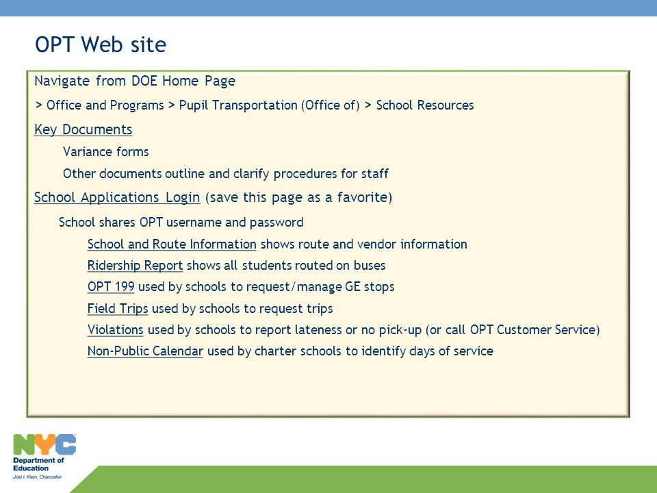 OPT Web site Navigate from DOE Home Page