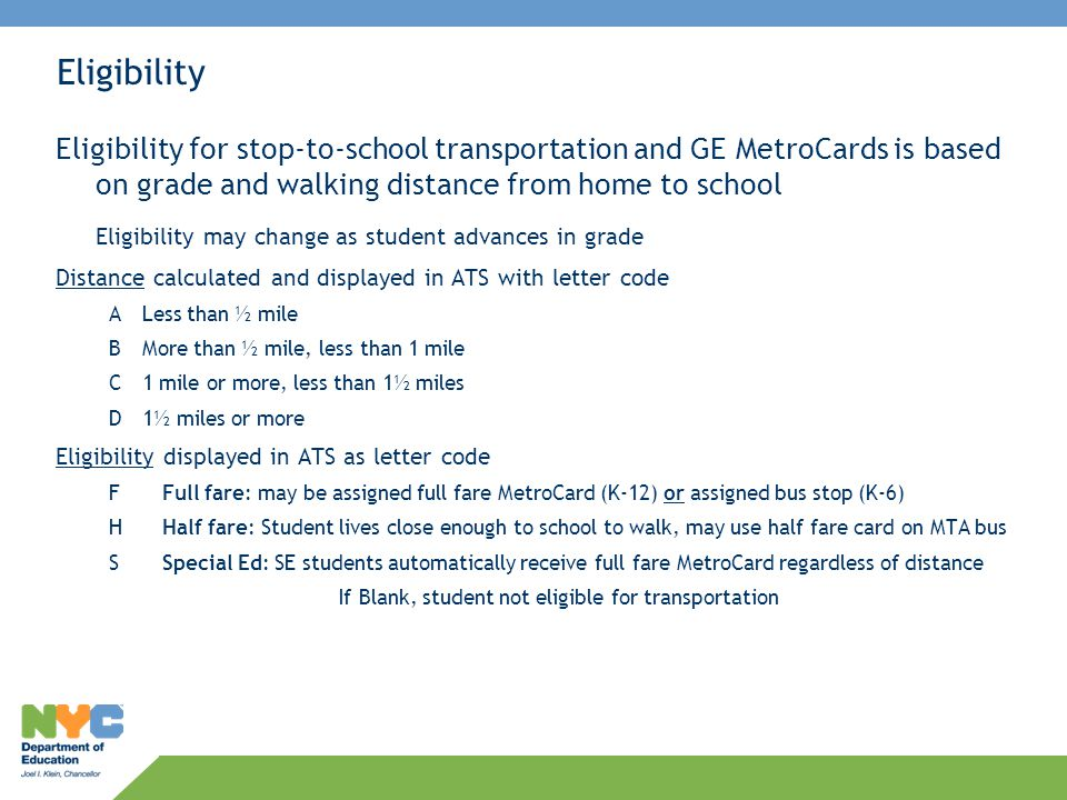 If Blank, student not eligible for transportation