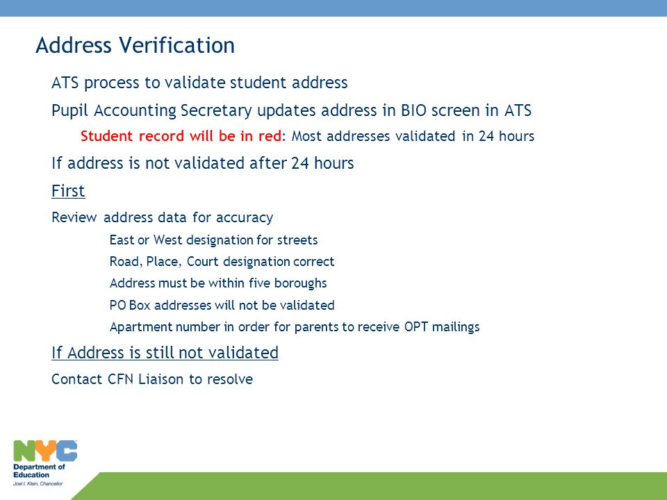 Address Verification ATS process to validate student address