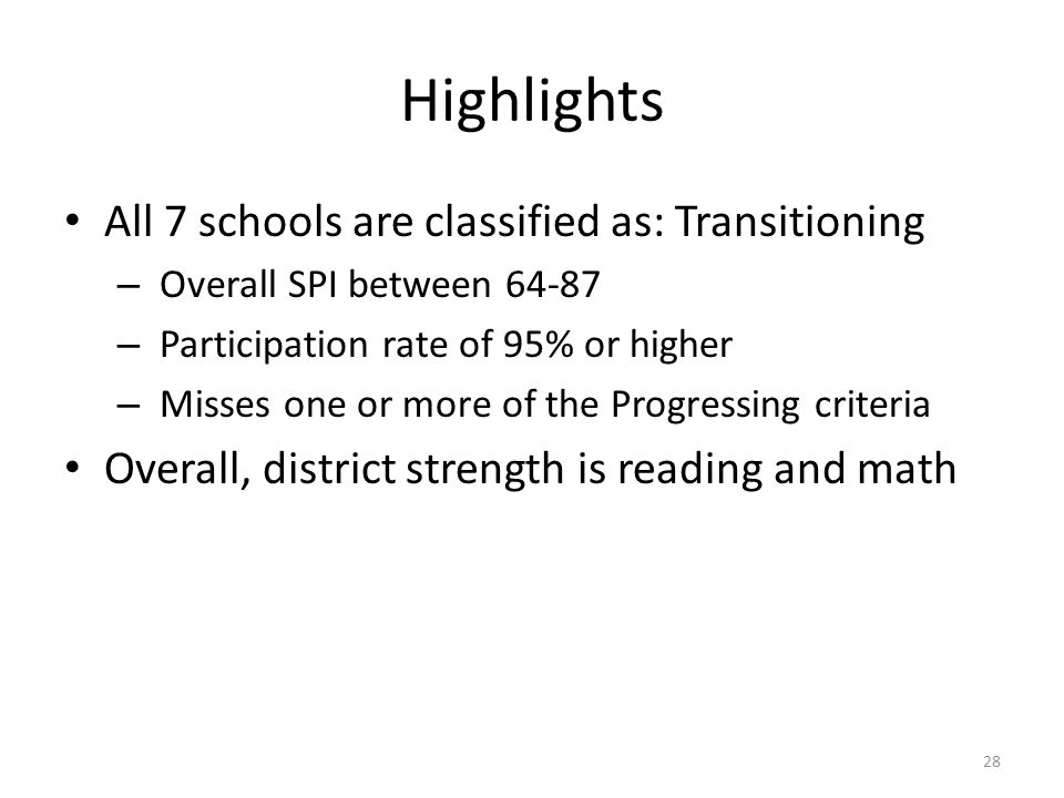 Highlights All 7 schools are classified as: Transitioning