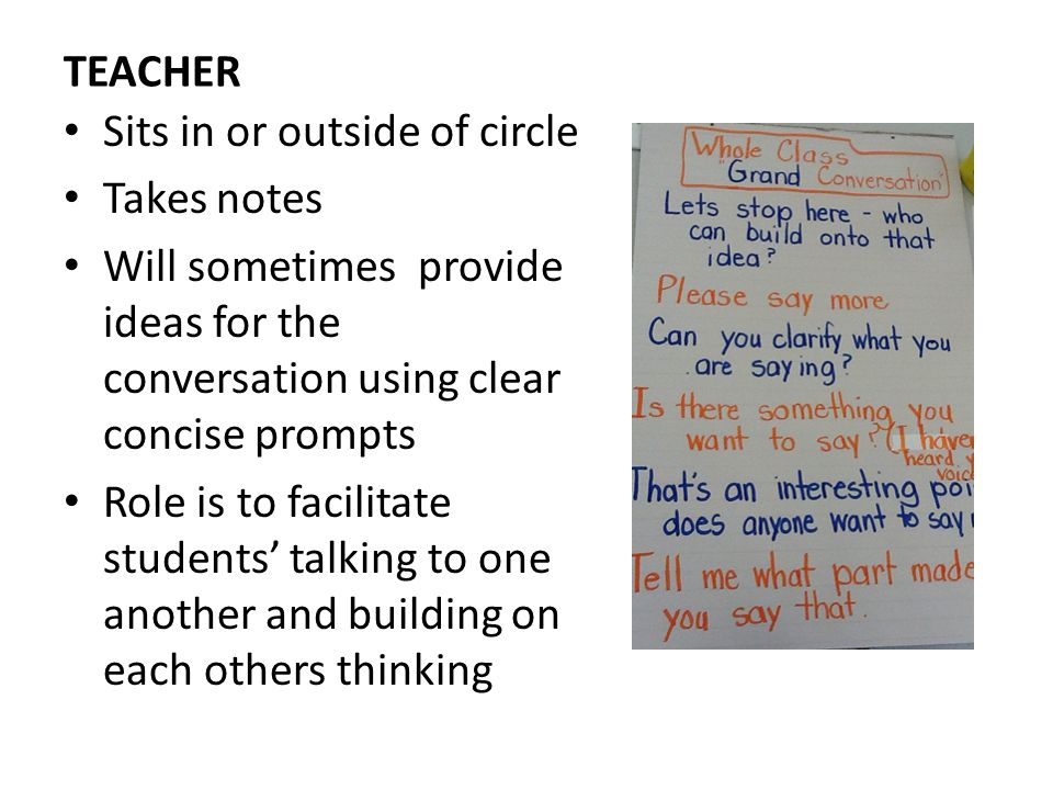 TEACHER Sits in or outside of circle. Takes notes. Will sometimes provide ideas for the conversation using clear concise prompts.