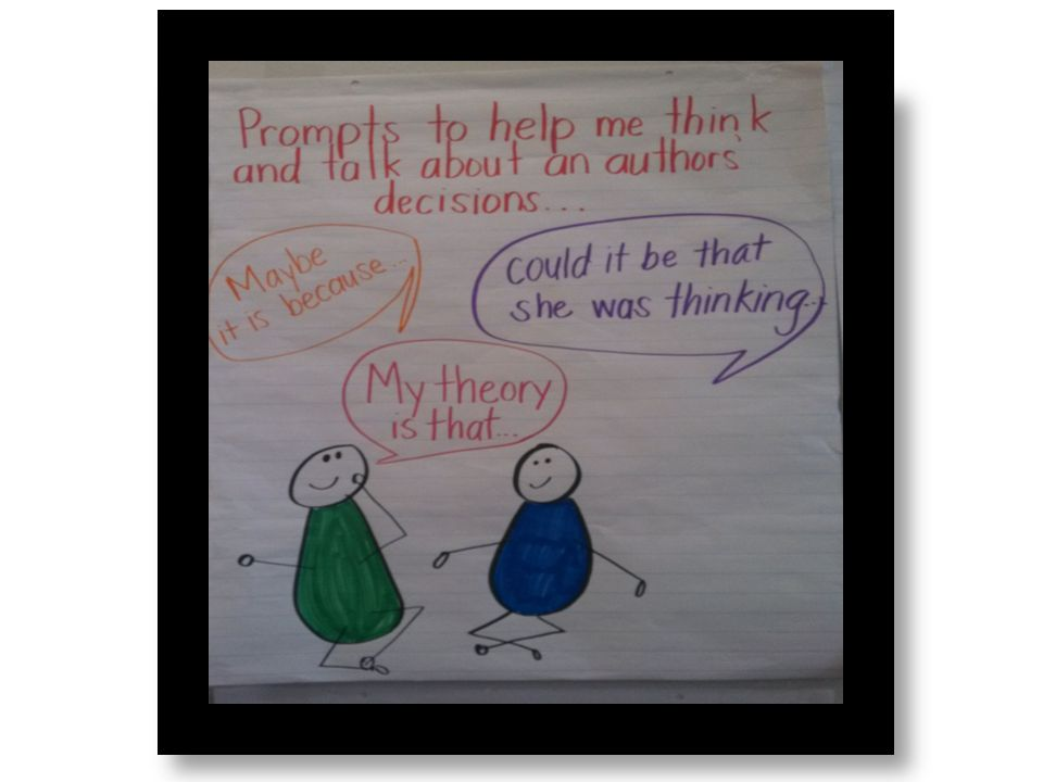 Using talking prompts like these help students with Present information, and supporting evidence such that listeners can follow the line of reasoning of the author and the reader