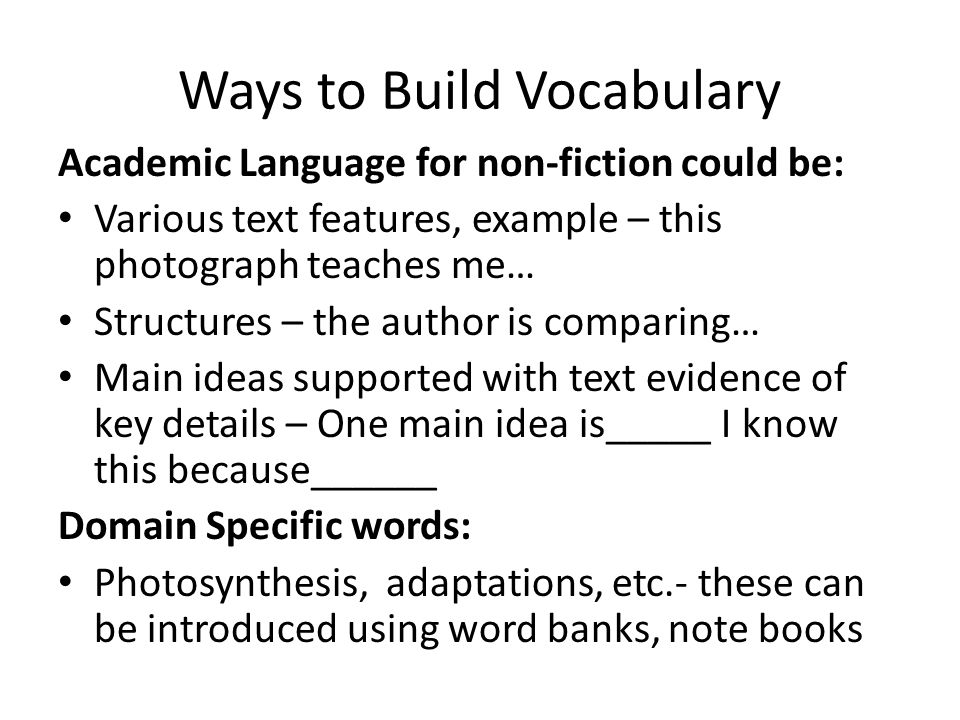 Ways to Build Vocabulary
