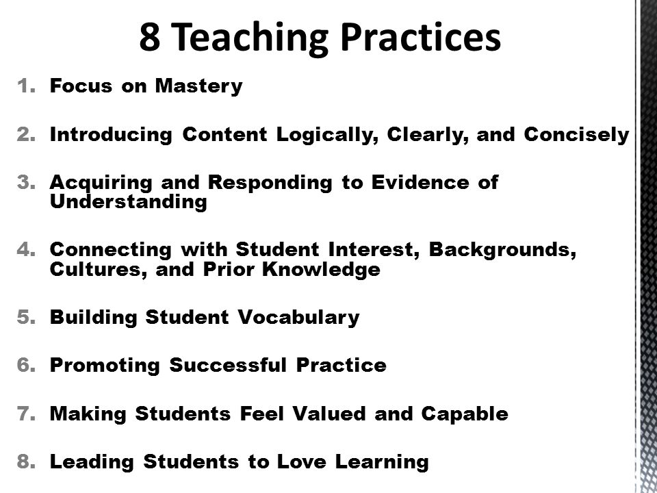 8 Teaching Practices Focus on Mastery