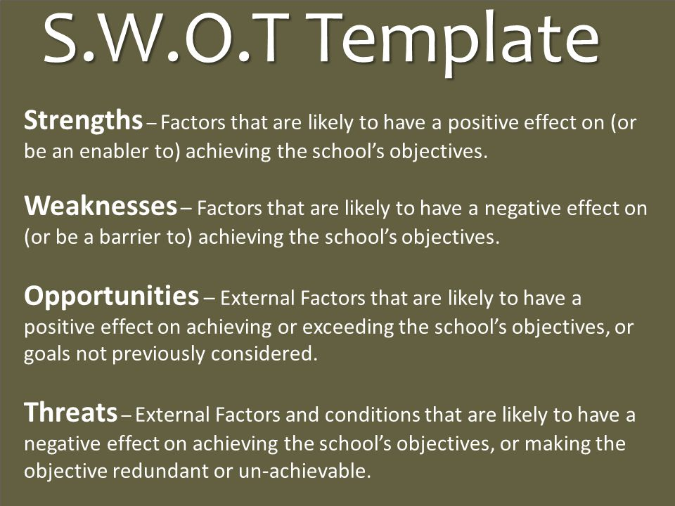 S.W.O.T Template Strengths – Factors that are likely to have a positive effect on (or be an enabler to) achieving the school's objectives.