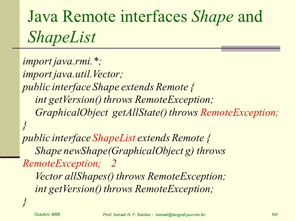 Java Remote interfaces Shape and ShapeList