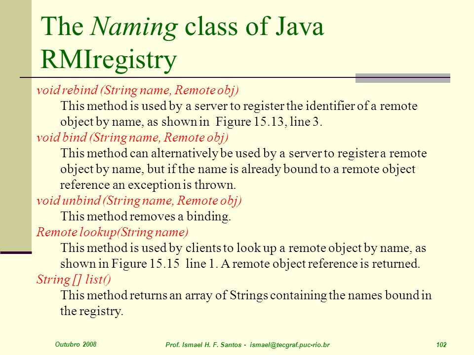 The Naming class of Java RMIregistry