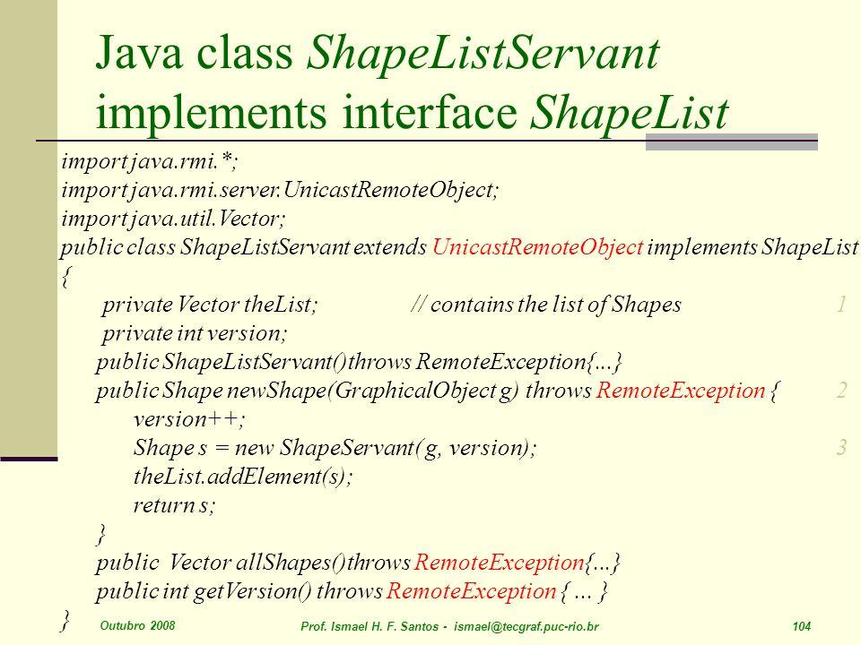 Java class ShapeListServant implements interface ShapeList