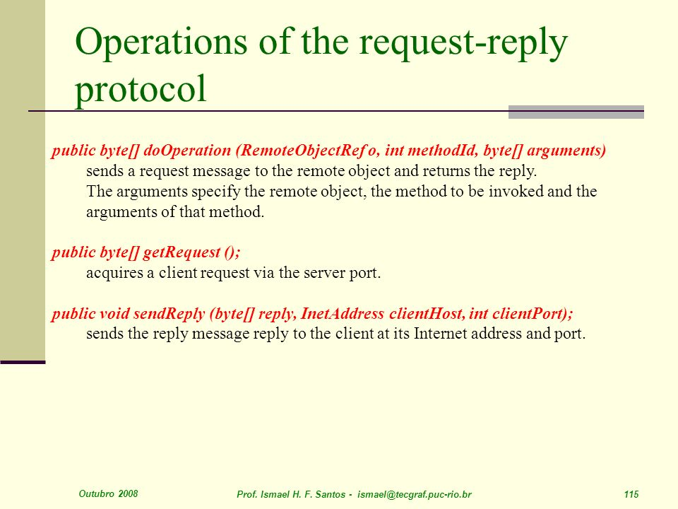 Operations of the request-reply protocol