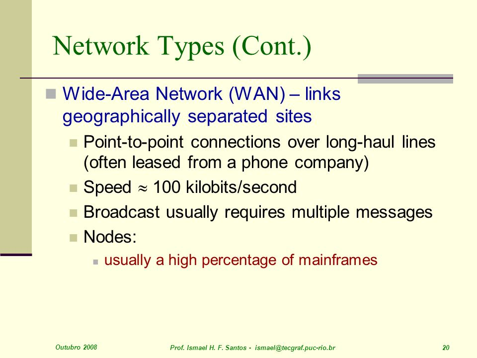 Network Types (Cont.) Wide-Area Network (WAN) – links geographically separated sites.
