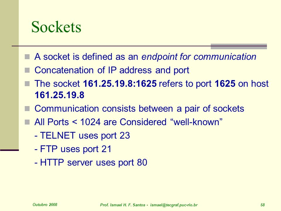 Sockets A socket is defined as an endpoint for communication