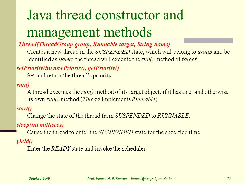Java thread constructor and management methods