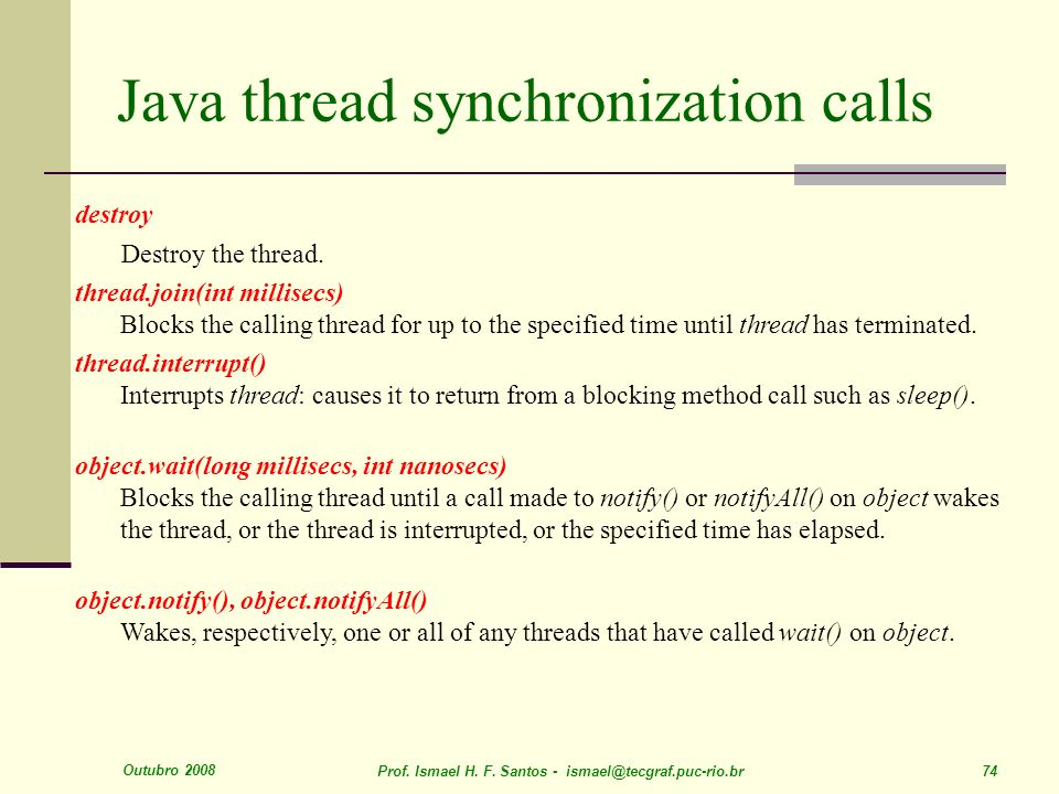 Java thread synchronization calls