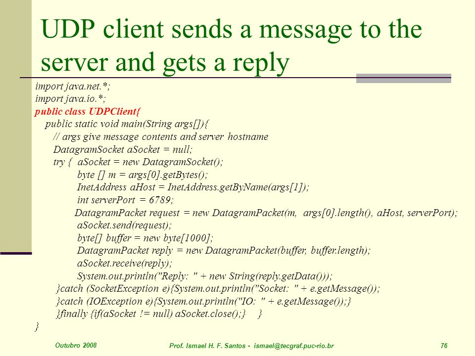 UDP client sends a message to the server and gets a reply