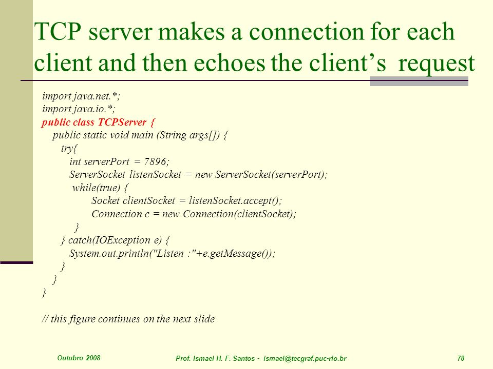 TCP server makes a connection for each client and then echoes the client's request