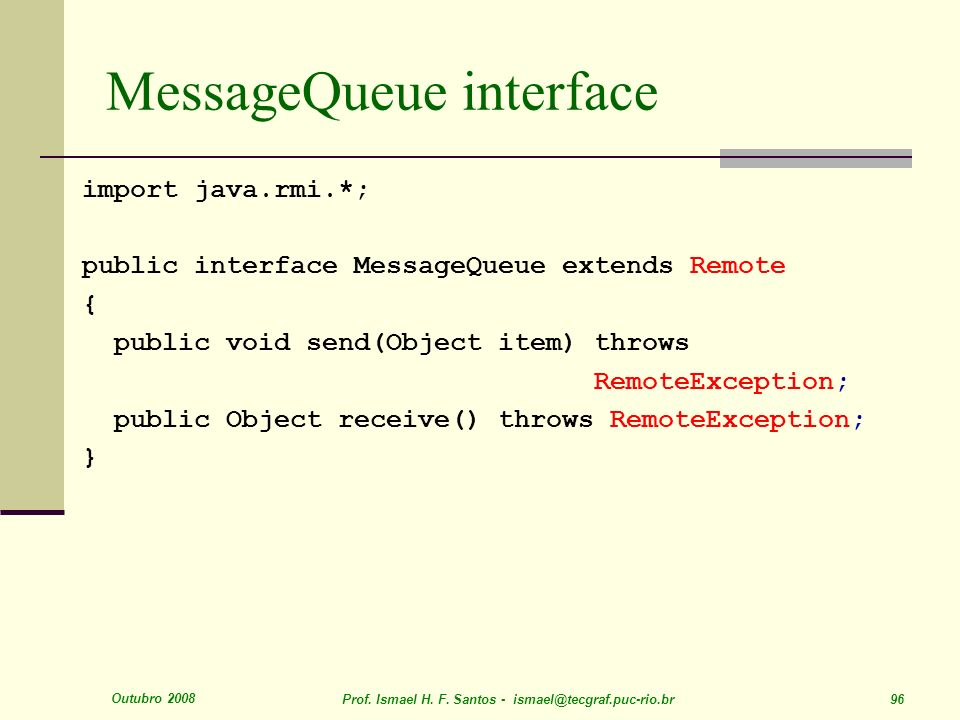 MessageQueue interface