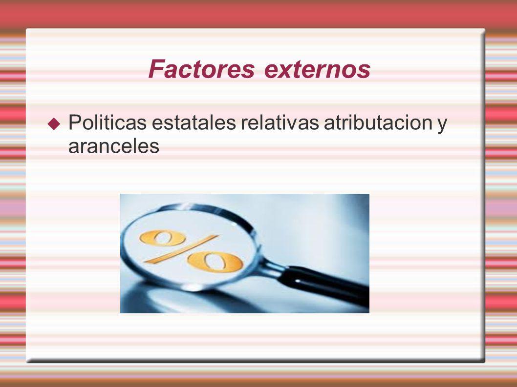 Factores externos Politicas estatales relativas atributacion y aranceles