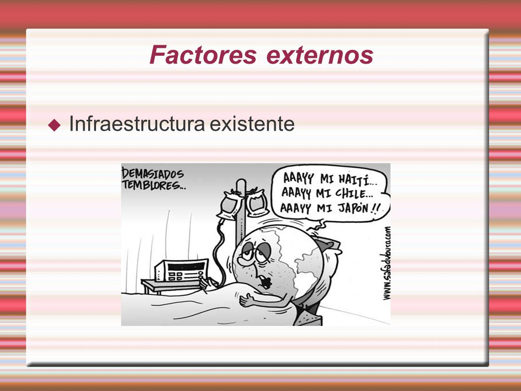 Factores externos Infraestructura existente