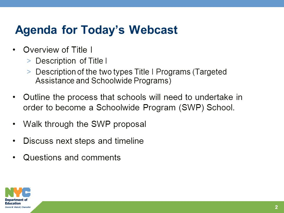 Agenda for Today's Webcast