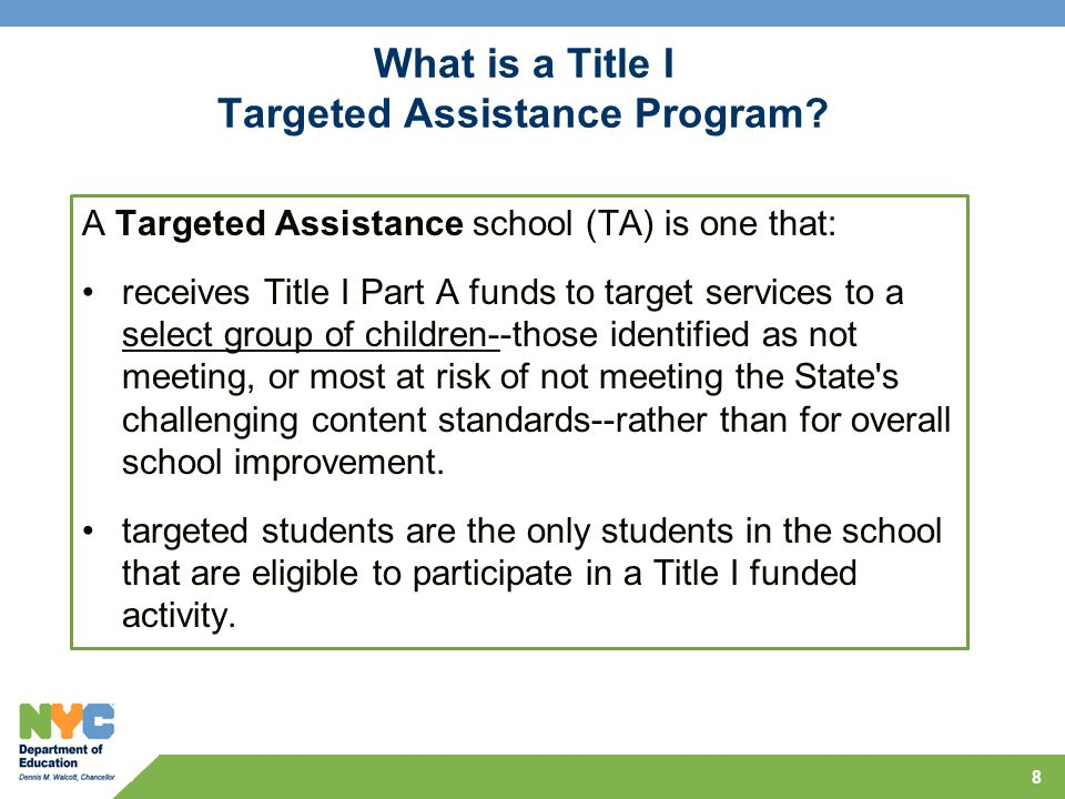 What is a Title I Targeted Assistance Program