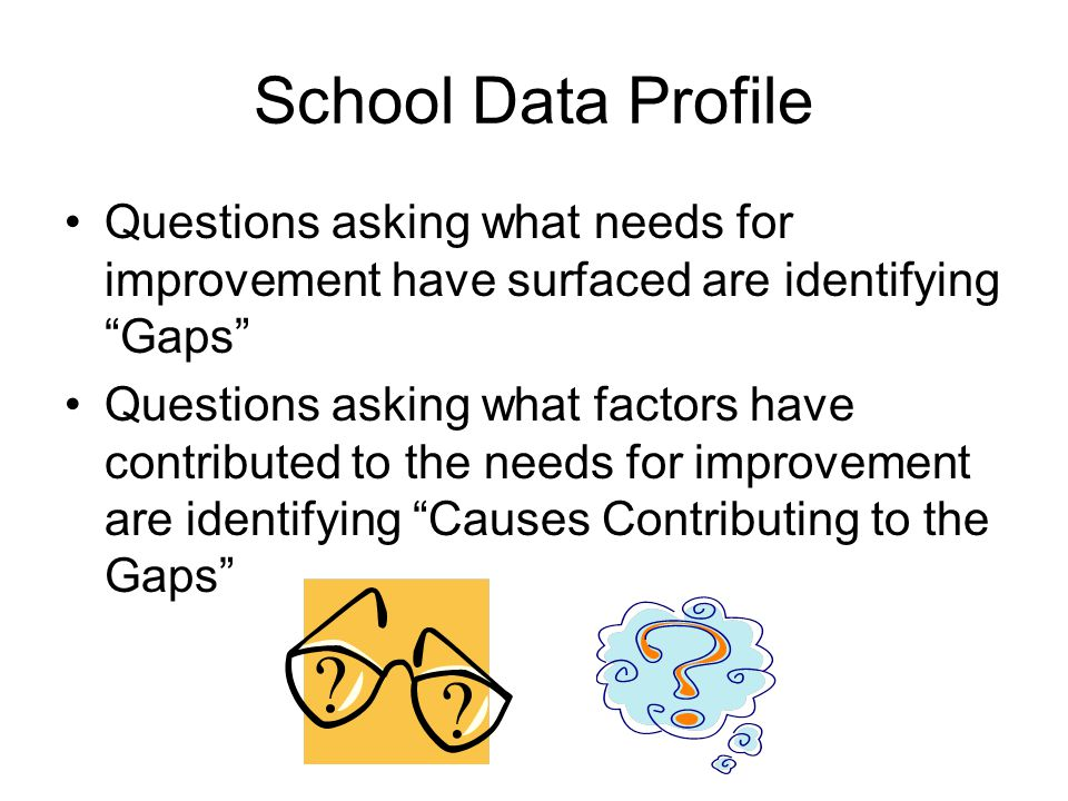School Data Profile Questions asking what needs for improvement have surfaced are identifying Gaps
