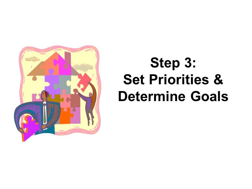 Step 3: Set Priorities & Determine Goals