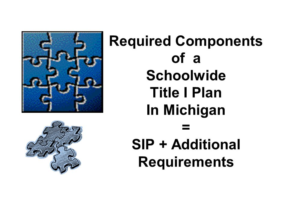 Required Components of a Schoolwide Title I Plan In Michigan = SIP + Additional Requirements