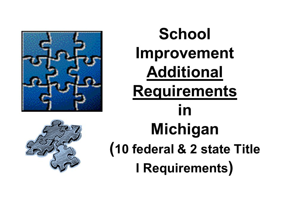 School Improvement Additional Requirements in Michigan (10 federal & 2 state Title I Requirements)