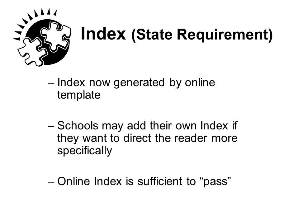 Index (State Requirement)