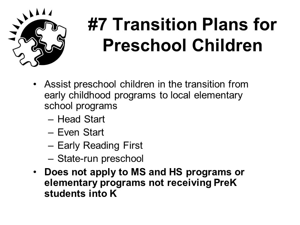 #7 Transition Plans for Preschool Children