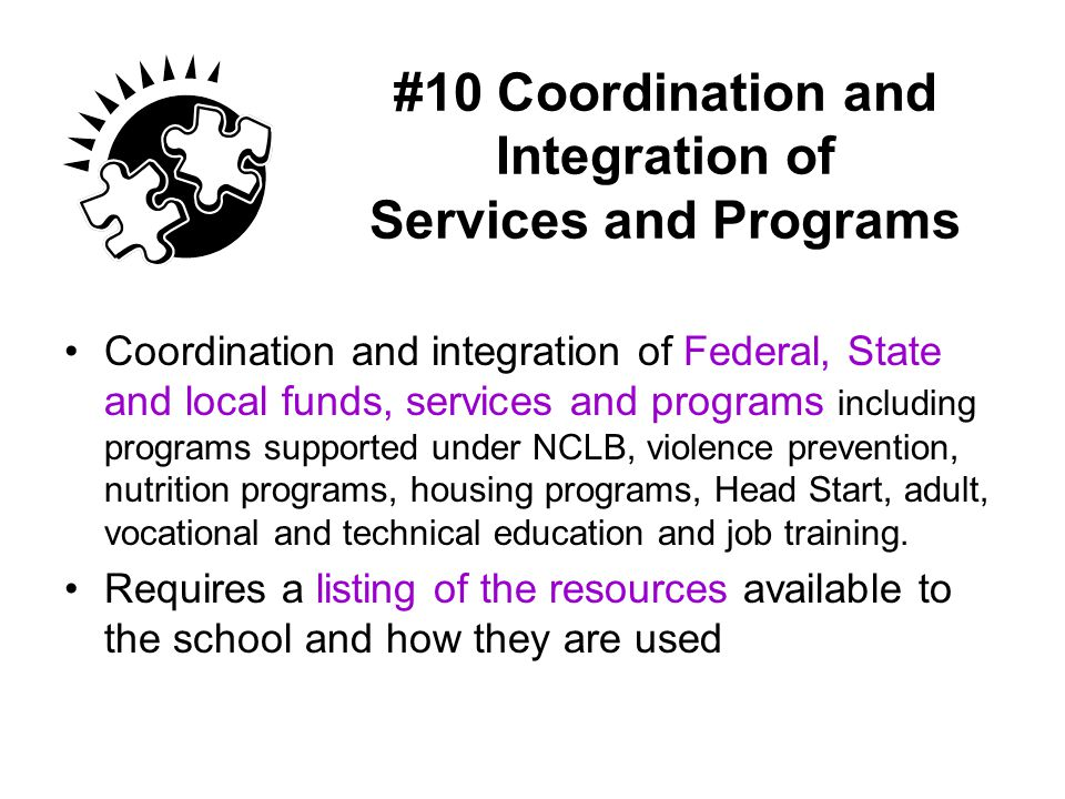 #10 Coordination and Integration of Services and Programs