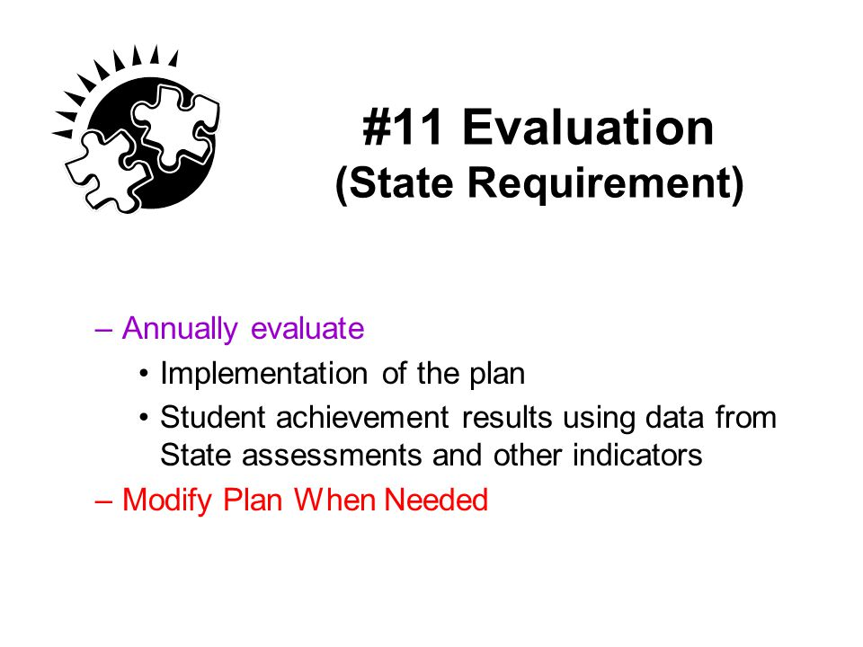 #11 Evaluation (State Requirement)