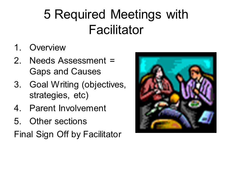 5 Required Meetings with Facilitator