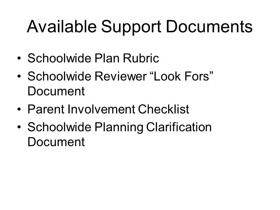 Available Support Documents