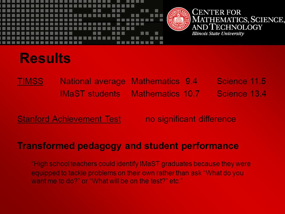 Results TIMSS National average Mathematics 9.4 Science 11.5. IMaST students Mathematics 10.7 Science 13.4.