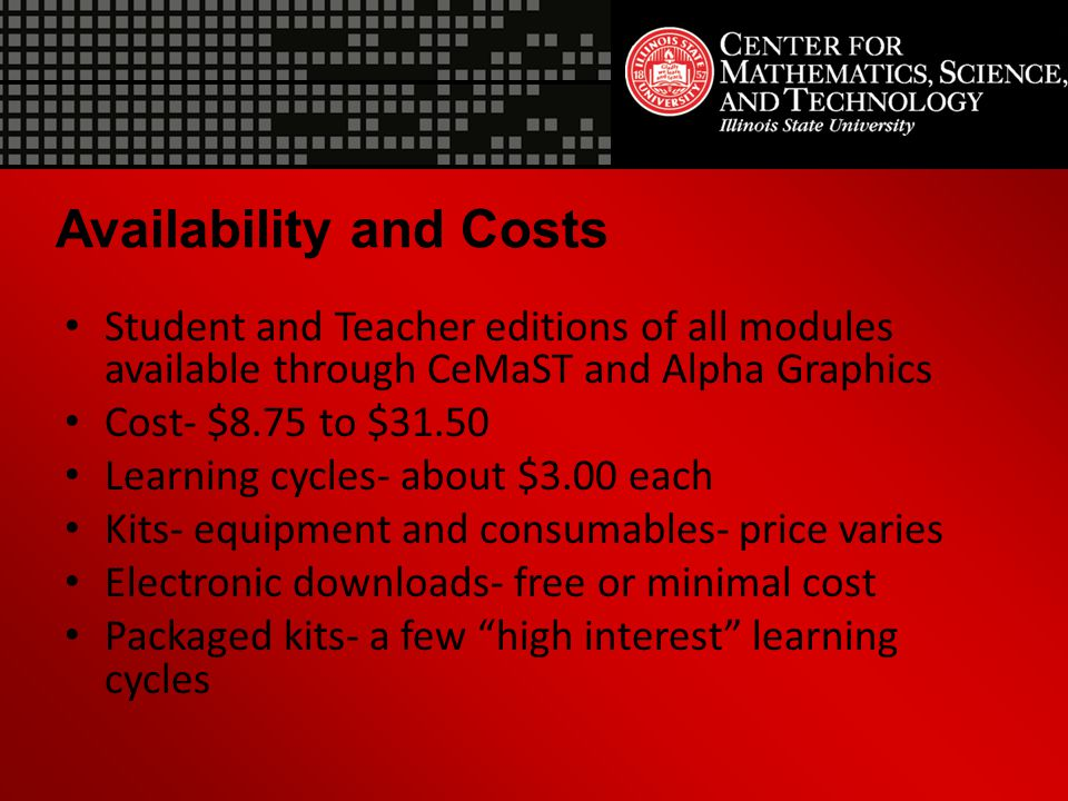 Availability and Costs