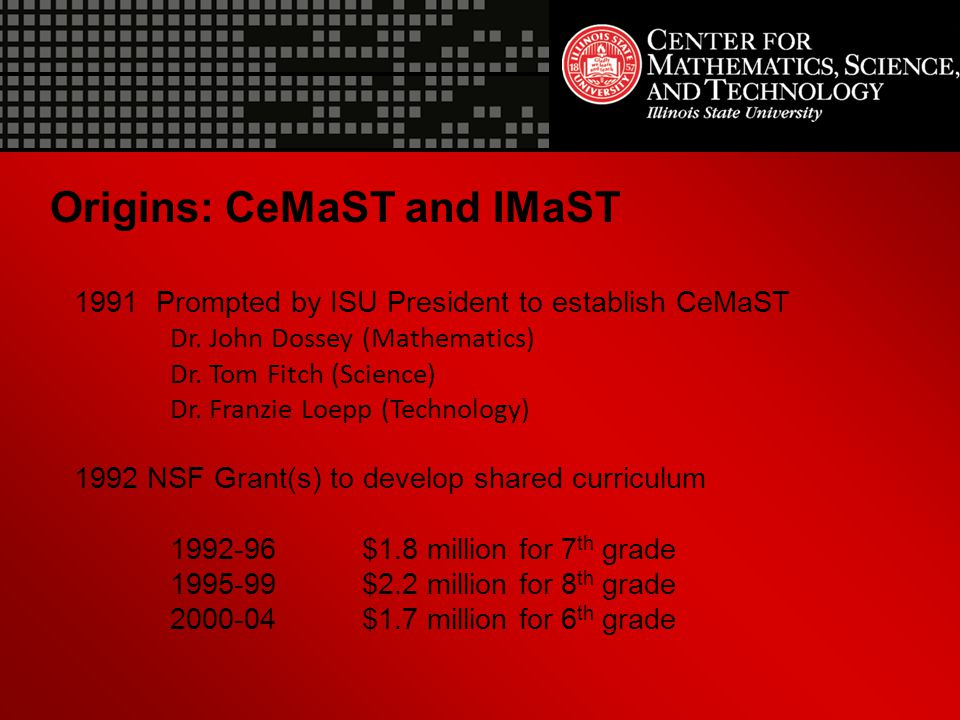 Origins: CeMaST and IMaST