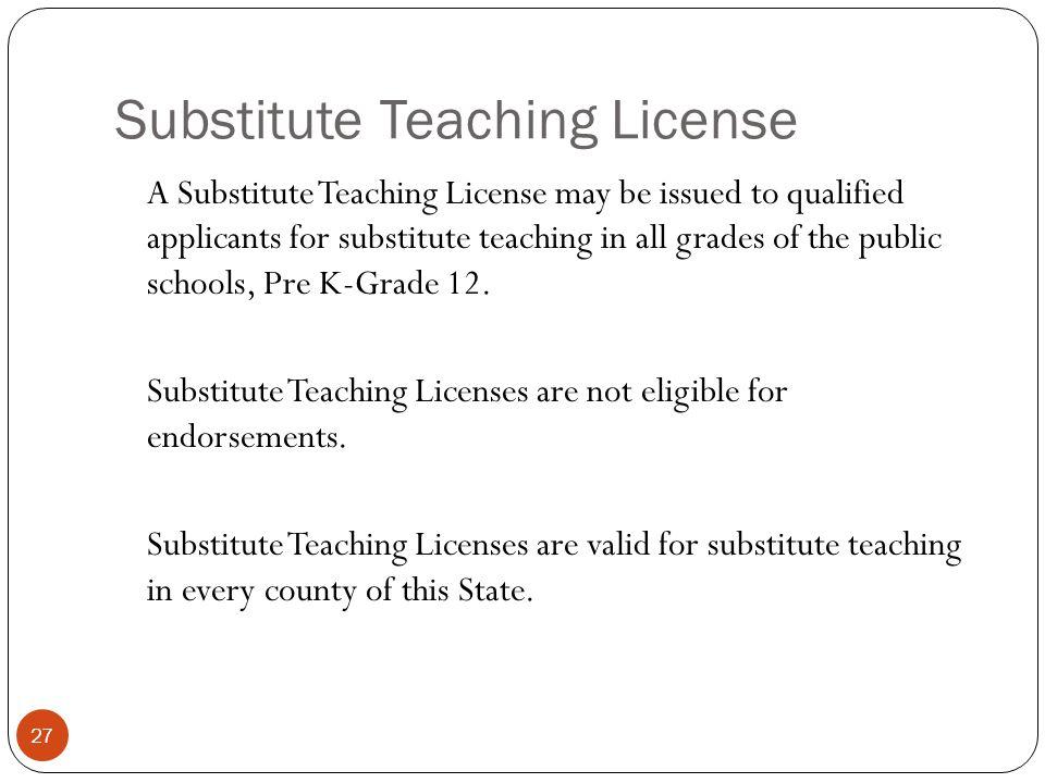 Substitute Teaching License