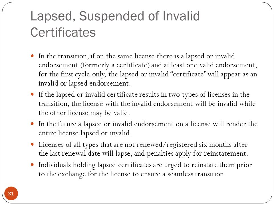 Lapsed, Suspended of Invalid Certificates