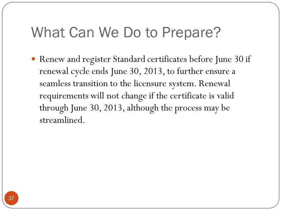 What Can We Do to Prepare
