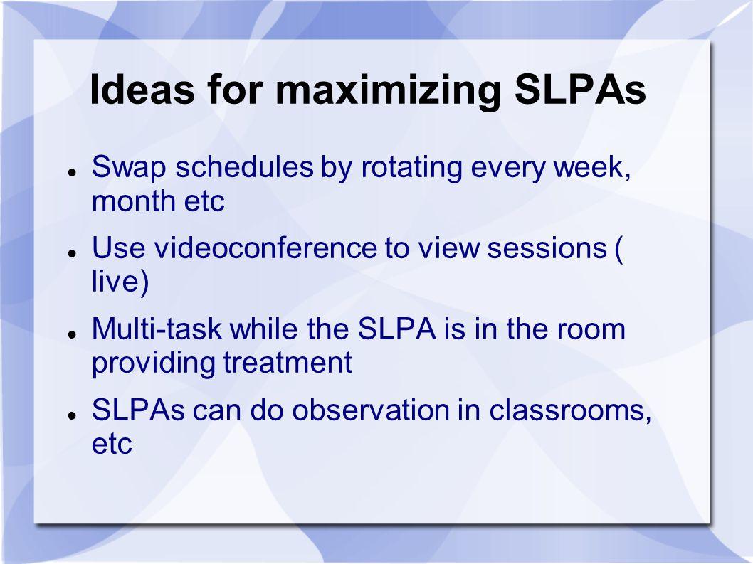 Ideas for maximizing SLPAs