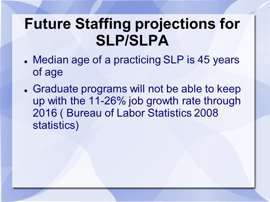 Future Staffing projections for SLP/SLPA
