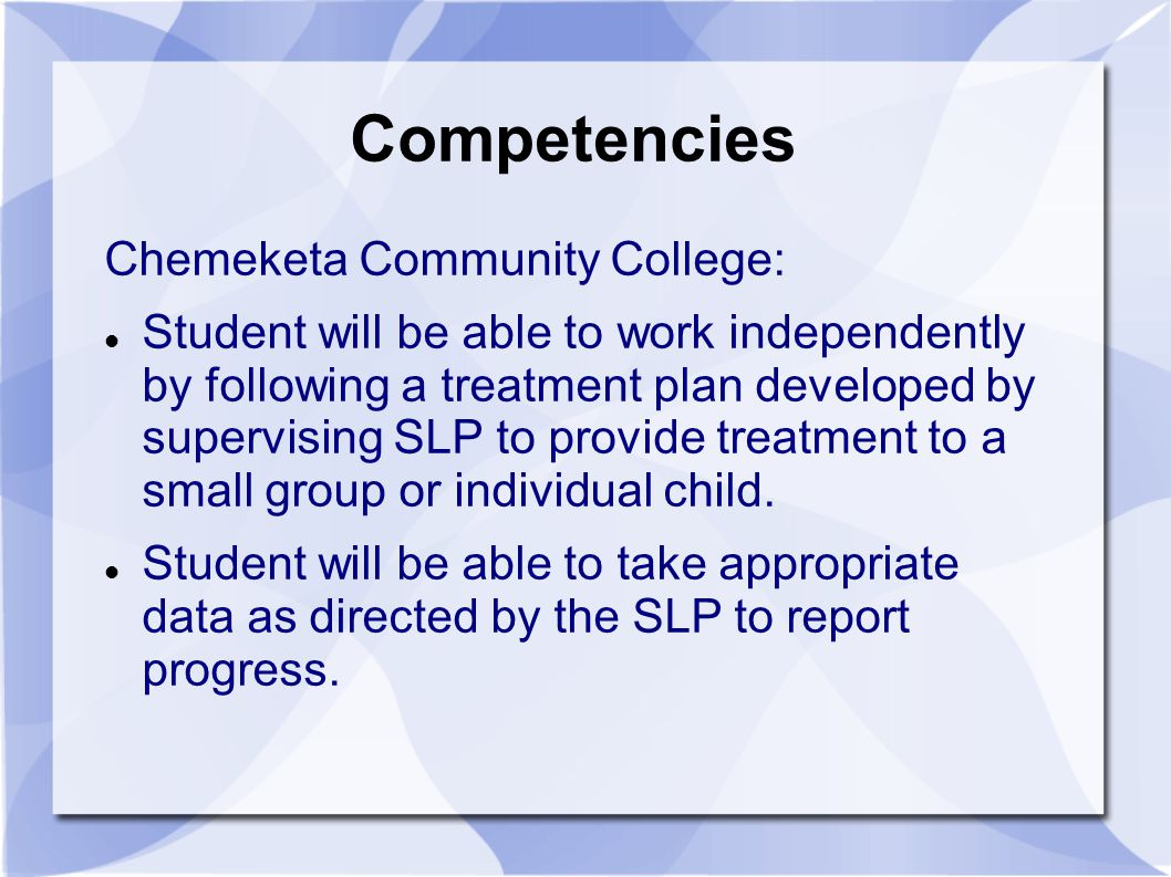 Competencies Chemeketa Community College: