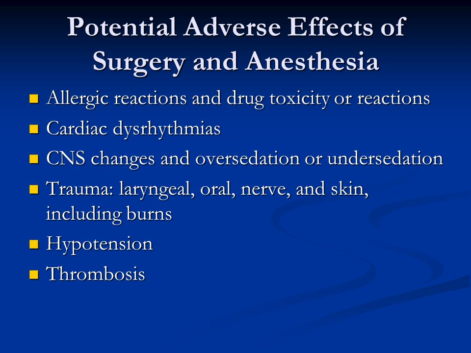 Potential Adverse Effects of Surgery and Anesthesia