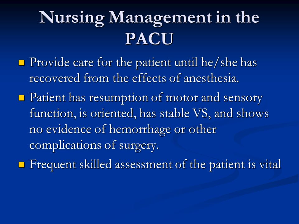 Nursing Management in the PACU