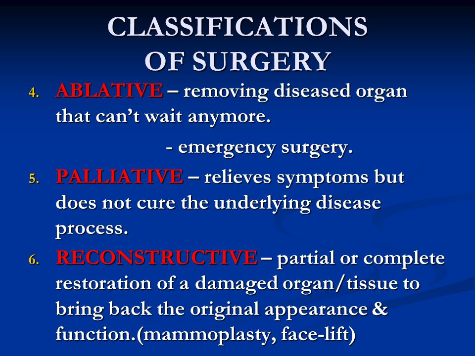 CLASSIFICATIONS OF SURGERY