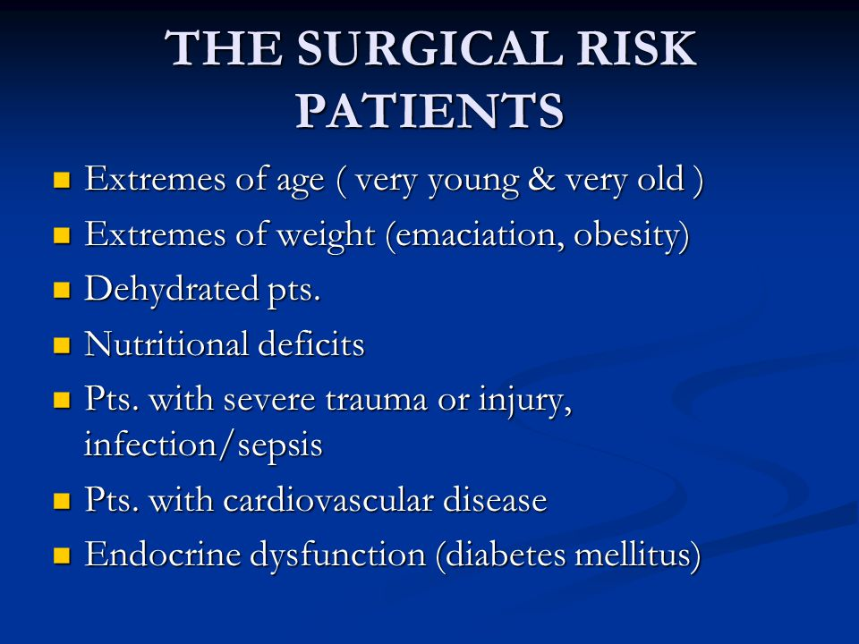 THE SURGICAL RISK PATIENTS