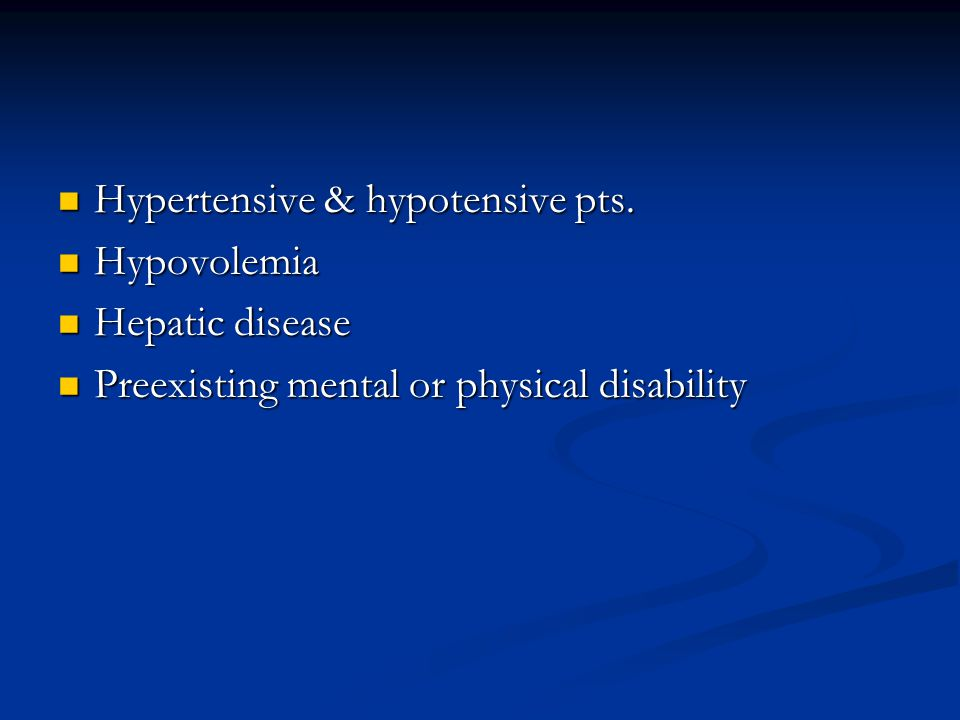 Hypertensive & hypotensive pts.